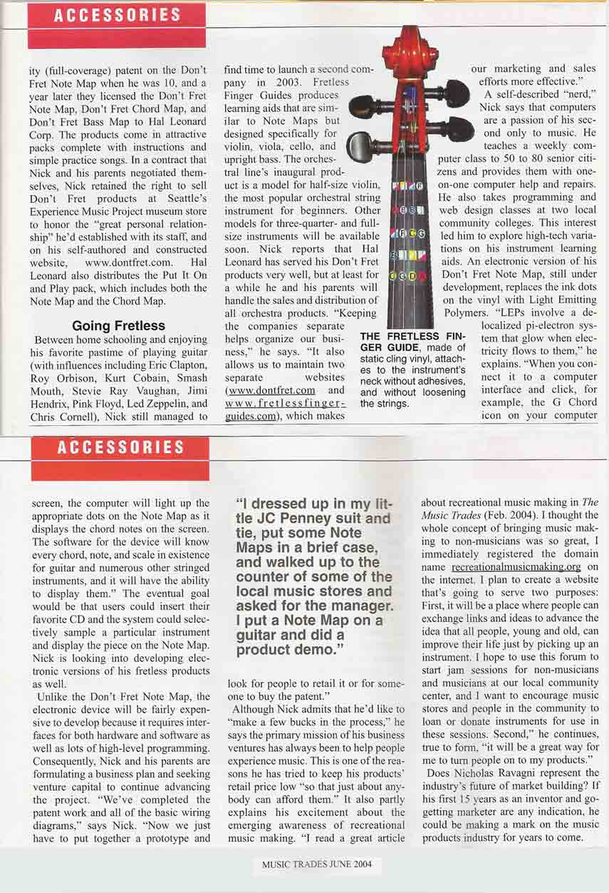 Music Trades magazine article about the inventor of the Fretless Finger Guide page two